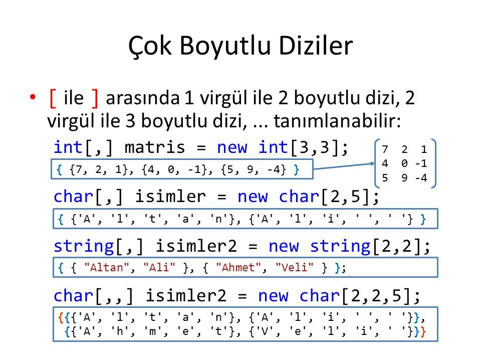 Çok Boyutlu Diziler [ ile ] arasında 1 virgül ile 2 boyutlu dizi, 2 virgül ile 3 boyutlu dizi, ... tanımlanabilir:
